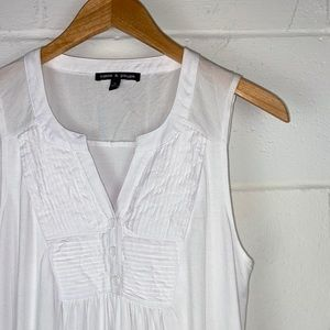Cable & Gauge Sleeveless Blouse Tank Top White